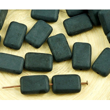12pcs Mat Opaque Noir de jais Rectangle Plat, Verre tchèque Perles de 8mm x 12mm pour $ 2.49 à partir de Czech Beads Exclusive