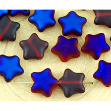 12pcs Matte Crystal Red Metallic Blue Azure Half Large Flat Star Czech Glass Beads 12mm for $2.64 from Czech Beads Exclusive