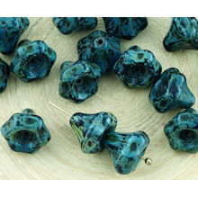 12pcs Picasso Brown Opaque Jet Black Halloween Large Bell Flower Caps Czech Glass Beads 9mm for $2.64 from Czech Beads Exclusive