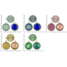 2pcs Czech Patina Antique Silver Tone Large Round Pendant Cabochon Settings Aztec Bezel Blank Tray Metal Base Fit Cameo 20mm for $2.83 from Czech Beads Exclusive