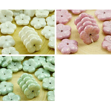 6pcs White Alabaster Opal Luster Large Flat Flower Cup Floral Czech Glass Beads 14mm for $2.49 from Czech Beads Exclusive