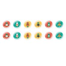 Runde Kuppel Tschechische Glas-Cabochons Retro Roboter für $ 7.29 von Czech Beads Exclusive