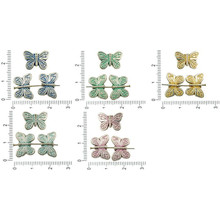 8pcs Antique Silver Tone Patina Wash Flat Lined Butterfly Animal Beads Charms Two Sided Bohemian Metal Findings 14mm X 10mm for $2.77 from Czech Beads Exclusive
