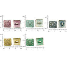 6pcs Antique Silver Tone Patina Wash Large Focal Square Domed Flower Floral Button Bohemian Metal Findings 14mm X 7mm for $2.63 from Czech Beads Exclusive