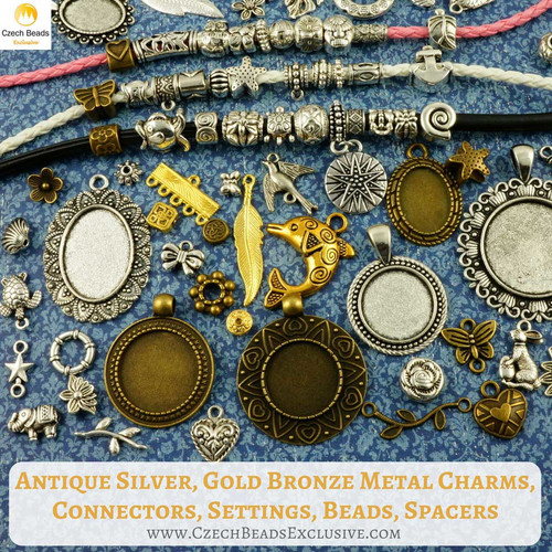fc2949d85 Antique Silver, Gold Bronze Metal Charms, Connectors, Settings, Beads,  Spacers - New Arrivals!