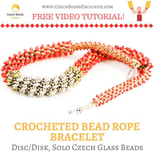 Discdisk Solo Czech Glass Beads Crocheted Bead Rope Bracelet Free