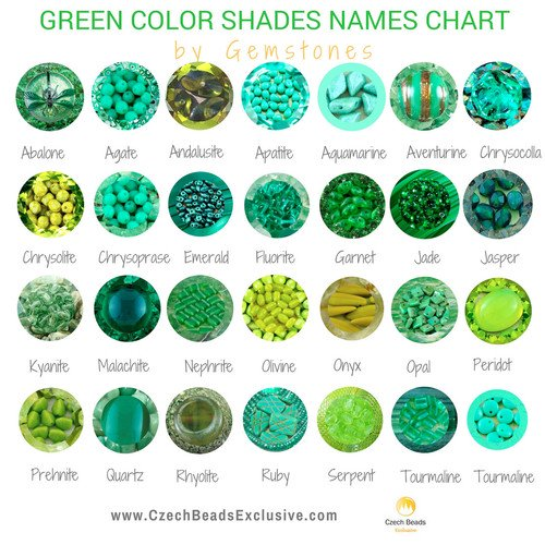 Green Color Shades Names Chart For Beads Buttons Cords And Other