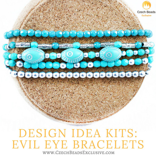 Design Idea Kit Evil Eye Jewelry Bracelets from Czech Glass Beads