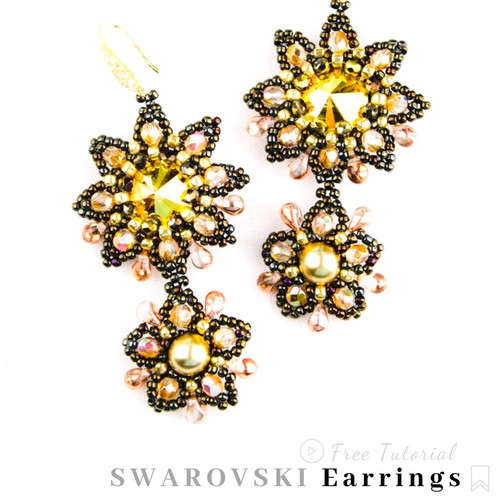 b83aa2c0856fc3 Free Video Tutorial - How to Make Beaded Earrings with SWAROVSKI Crystals,  Round Beads, Teardrop Beads, Imitation Pearls